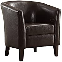 Poundex F1509 Bobkona Denzil Faux Leather Club Chair, Chocolate