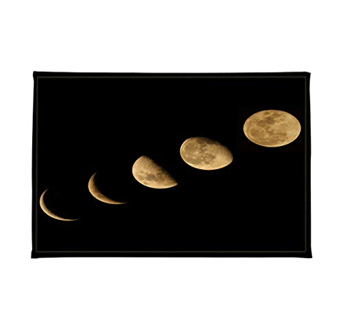 LB Moon Phase Bath Mat Nature Lunar Eclipse Solar System Black Bathroom Mat Rugs Soft Memory Foam Non-Slip High Absorbent 16x24 inch
