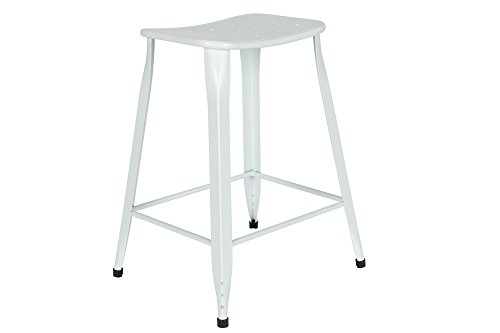 Novogratz Nara Backless Counter Stool with Sturdy Metal Legs, Set of 2, White (Metal Backless Counter Stools)