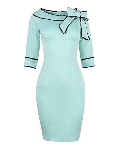 Da Sottile Azzurro Partito Basic Corte Donna Sera Abito Chiaro Slim Eleganti Maniche Vestito Fit Aderente q4vgw4xS