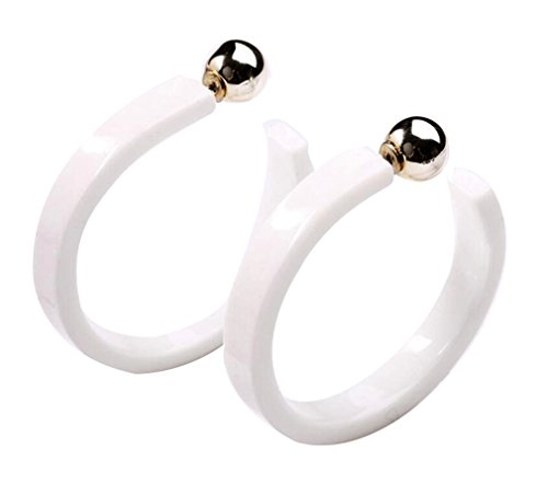 AIEDE Earrings Acrylic Marbled Earring Round Hoop Earrings-White