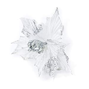 """Silk Flower Arrangements Riverbyland 6 Pcs 9"""" Glitter Poinsettia Flower Christmas Tree Ornament White"""