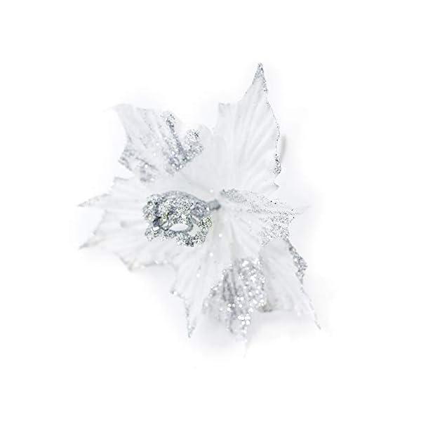 """Riverbyland 6 Pcs 9"""" Glitter Poinsettia Flower Christmas Tree Ornament White"""