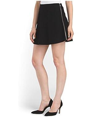 Theory Ixen Wool Felt Mini Skirt Lorywash Fabric in Black