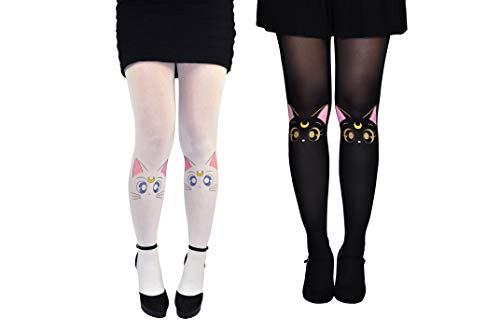 Sailor Moon Socks Tights Women & Girls (2 Pair) - Artemis & Luna Hosiery - Sailor Moon Merchandise (M/L) ()