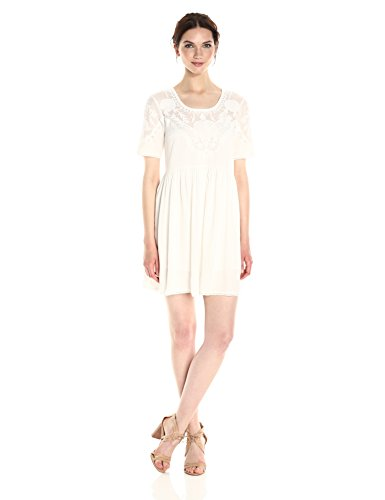 French Connection Women's Shannon Stitch Dress, Summer White, L by French Connection