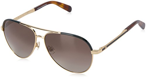 Kate Spade Women's Amarissa Aviator Sunglasses, GOLD HAVANA/BROWN GRADIENT, 59 ()