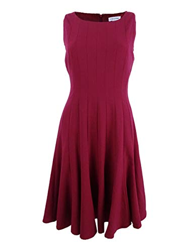 (Calvin Klein Women's Sleeveless Pleated A-line Dress (4,)