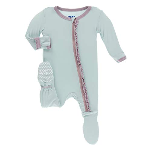 Kickee Pants Little Girls Solid Muffin Ruffle Footie with Zipper - Spring Sky with Sweet Pea, 12-18 Months