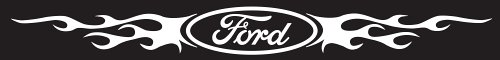 Chroma Graphics 3703 Ford Logo w/Flames - Windshield Decal