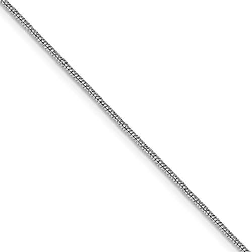 0.8mm 14k White Gold Square Foxtail Chain Necklace, 18 Inch