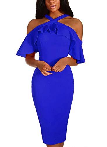 Midi 8 XL Colors Shoulder Cold Ruffle Bodycon S Sleeve Women Dress Blue AlvaQ F8qxUU