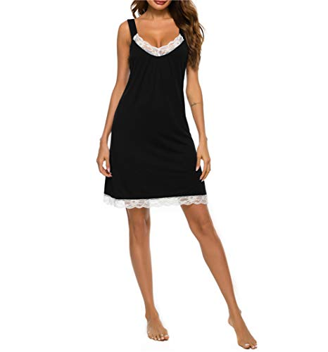 Mother's Day Nightgown for Women Sexy Sleepwear V Neck Pajama Dress Modal Soft Nightshirt Sleeveless Loose Nightdress Black S