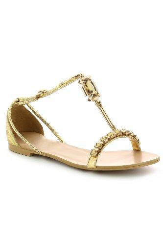 Go Tendance - Sandalias de vestir para mujer dorado - Doré