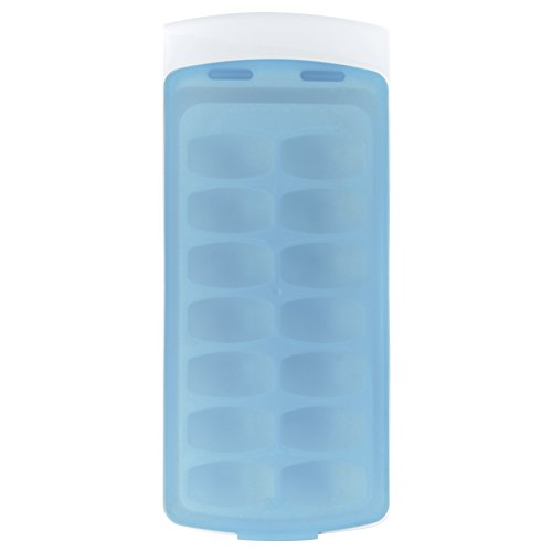 OXO Good Grips No-Spill Ice Cube Tray with Silicone Lid, 8.8 oz., White/Blue