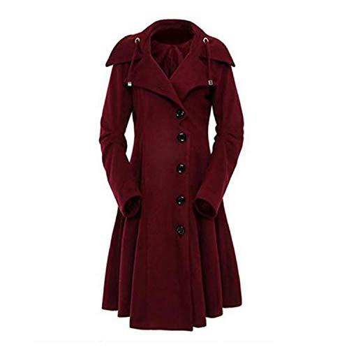 Invierno Abrigo Rojo Keamallltd Negro Mujer Collar Moda Medieval Elegante Gótico Vintage Stand Largo Mujeres Trench Coat wRCYPaRqx