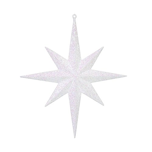 "8"" White Glitter Bethlehem Star 4/Box"
