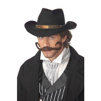 Brown, Std Size Adult Gunslinger Costume Moustache for Men