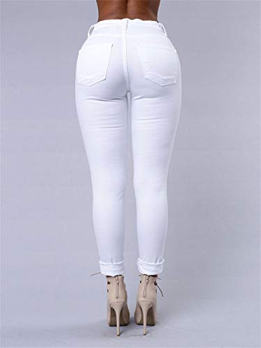 de Csndion Flacos Pantalones lápiz Bragas sólidos Las penachos de con con rasgadas Alta Vaqueros White Pantalones Cintura Mujeres BtBxrwpqF