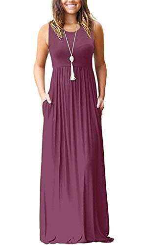 AUSELILY Women's Summer Sleeveless Loose Plain Maxi Dress Casual Long Dress with Pockets (2XL, Mauve)