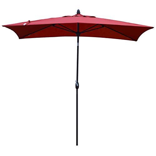 SORARA Patio Umbrella Rectangular Outdoor Market Table Umbrella with Push Button Tilt&Crank&Umbrella Cover, 6.5' x 10', Red