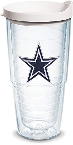 Tervis 1097409 NFL Dallas Cowboys Primary Logo Tumbler with Emblem and White Lid 24oz, Clear