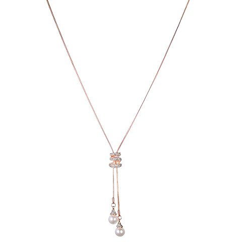 Muranba Women Crystal Pearls Pendant Necklace Luxury Long Sweater Necklace (Rose Gold)