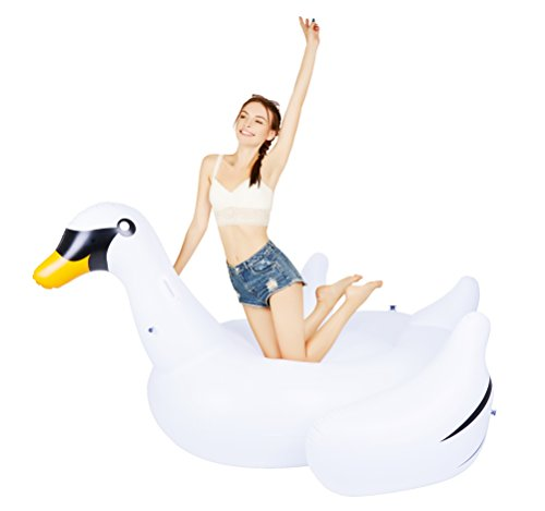 MarlJohns Giant Rideable Swan Inflatable Float Toy - Floatie Ride On Rideable Blow Up Summer Fun Pool Toy Lounger Floatie Raft for Kids & Adults - 76