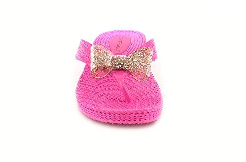 New Girls / Kinder rosa ohne Bügel Glitzer Jellie Keilabsatz Sandalen - Pink - UK Größen 1-13