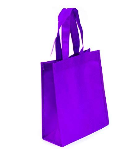 10 Pack Non-woven Reusable Tote Bags, Heavy Duty Non-woven Polypropylene, Small Gift Tote Bag, Book Bag, Non Woven Bag Multipurpose Art Craft Screen Print School Bag (Purple, Set of 10)
