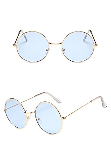 Nuni Unisex Gold Wire Frame Tinted Lens Retro Round Sunglasses (gold, - Blue Tinted Lenses