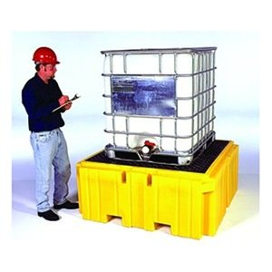 Yellow UltraTech 1158 Polyethylene Ultra-IBC Spill Pallet Plus with Drain 8500 lbs Capacity 5 Year Warranty