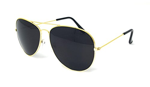 Aviator Sunglasses with 100% UV Protection By Pointed Designs (Gold, - Black Aviators Gold And