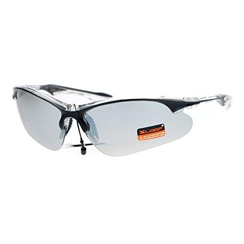 Xloop Mirrored Mens Baseball Half Rim Thin Plastic Rim Runners Sunglasses Black - Sunglasses Runners
