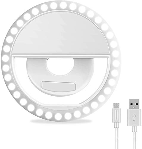 Selfie Light Ring for iPhone, 3 Light Modes Rechargeable Circle Light, Adjustable Brightness Mini Clip On Ring Light for Phone Laptop Ipad Video Recording, Conferencing
