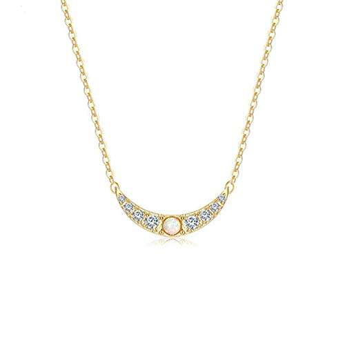 Befettly Opal Moon Necklace, Women 14k Gold Plated Handmade Dainty Cute CZCrescent MoonNecklace Minimal Horn Necklace for Ladies & -