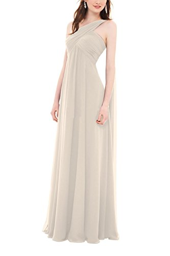 Zhongde Women's One Shoulder Empire Maternity Chiffon Bridesmaid Dress Wedding Party Gown Champagne Size 22
