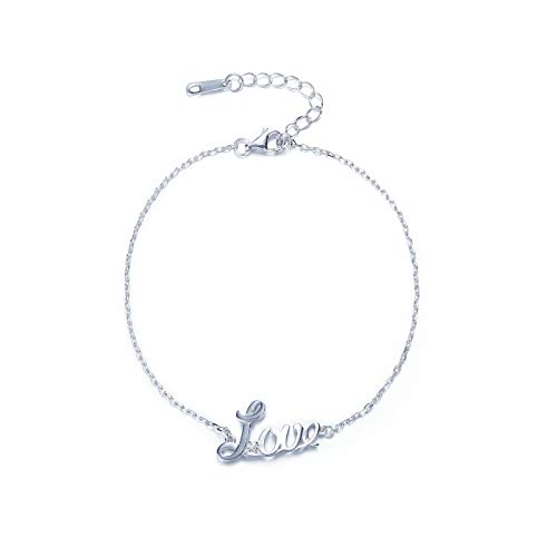 Sterling Silver Chicago Bears Charm - Adisaer Bracelet for Women with Charms Sterling Silver Plated Link Chain Love Letter Silver Valentine's Day Present for Girlfriend