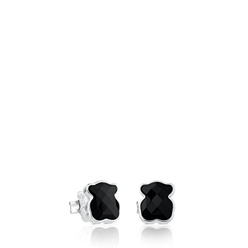 (TOUS Color Earrings in Sterling Silver and Faceted Onyx, 9mm.)