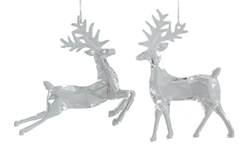 Prancing Deer (Prancing Deer Clear Hanging Tree Ornament - Set of 2)