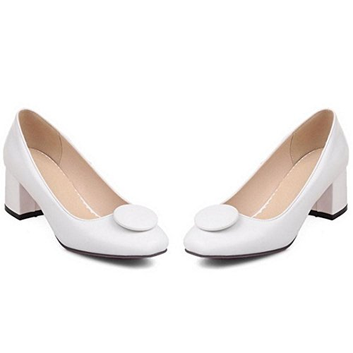 Women Heel Slip White Shoes TAOFFEN Mid Fashion Thick Court On Square Toe qwaap1R