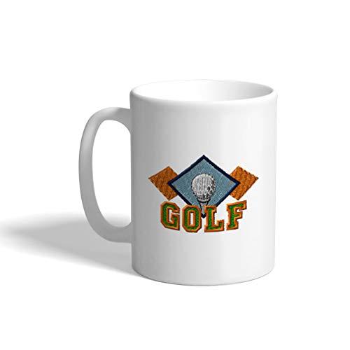 (Ceramic Funny Coffee Mug Coffee Cup Sport Golf Vintage Diamonds 1 White Tea Cup 11 Ounces)