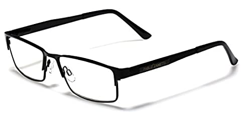 Metal Wire Rim Rectangular Frame Reading Glasses with Spring Hinge Various Strengths and Colors LARGE - Range Hinge