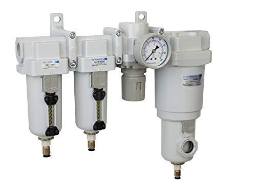 "PneumaticPlus SAU470-N04DG-MEP Four Stage Air Drying System - Compressed Air Particulate Filter, Coalescing Filter, Pressure Regulator & Water Separator, 1/2"" NPT - Auto Drain, Metal Bowl"