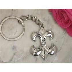 Silver chrome Fleur de lis keychain
