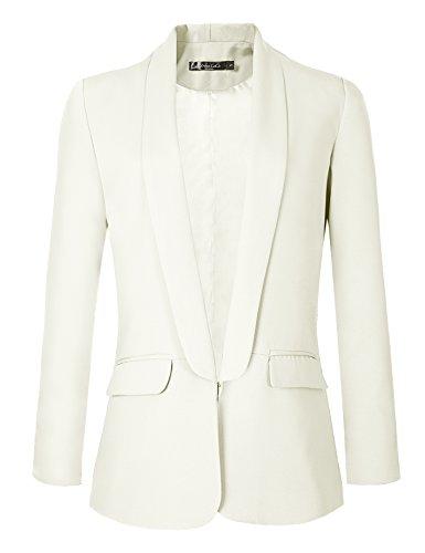 Womens White Pants Suit (Urban CoCo Women's Office Blazer Jacket Open Front (L, White))