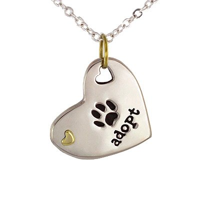 Heart Shaped ADOPT Pendant with Paw Print in Mixed Metal on Adjustable 16 - 18