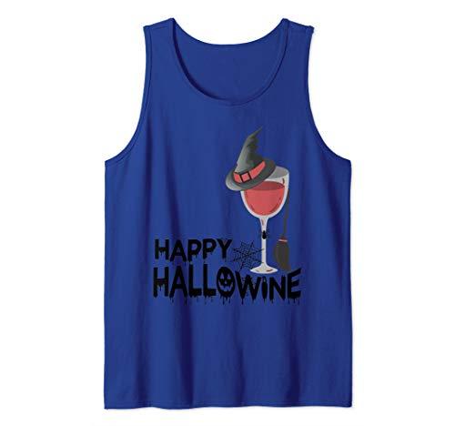 (Happy Hallowine Funny Halloween Wine Drinking Costume Gift Tank)