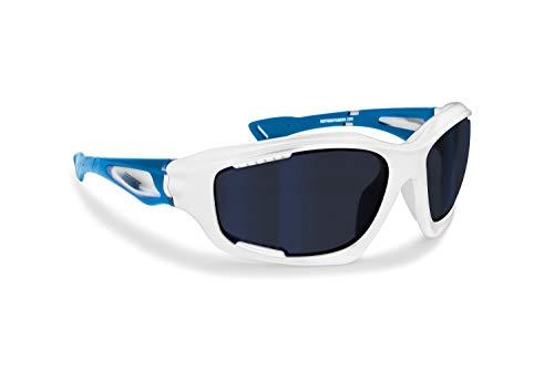 Bertoni Italy Sport Sunglasses MTB Cycling Watersports Ski Extreme Sports – Anticrash Windproof Ventilated Lenses mod. FT1000 Wraparound Sport Glasses (Matt Blue/Shiny White)
