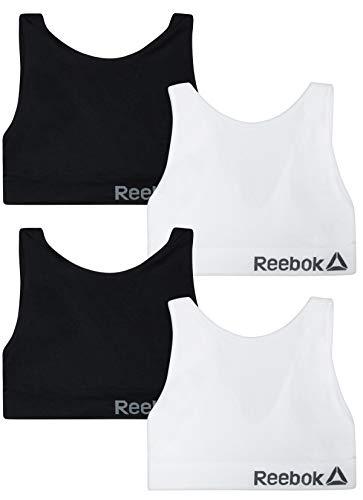 Reebok Women's 4 Pack Active Training Sports Bras, Black/White, Size X-Large'